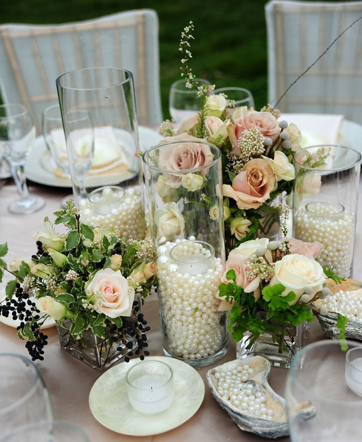 Elegant DIY Pearl and Candle Centerpieces