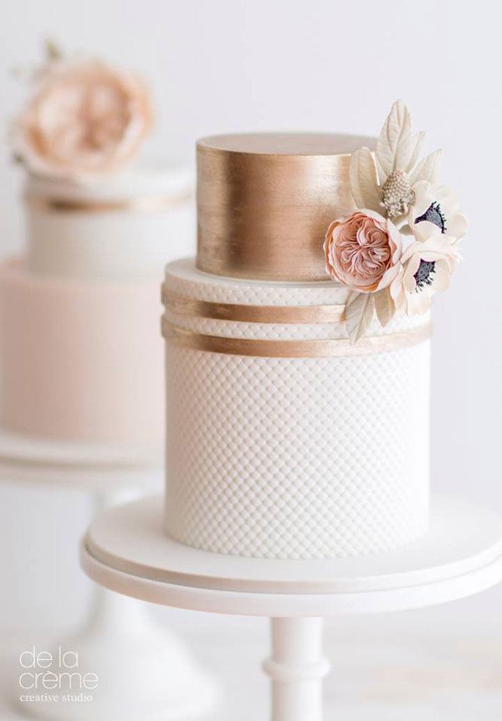 Blush & Rose Gold Wedding Cake Trio