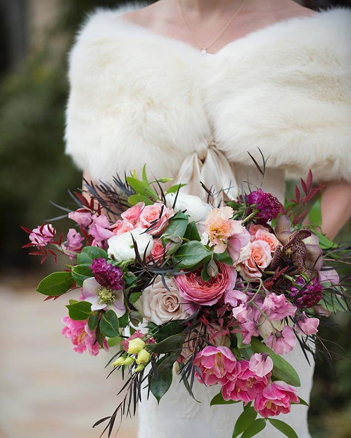 Textural Bridal Bouquet In Pinks