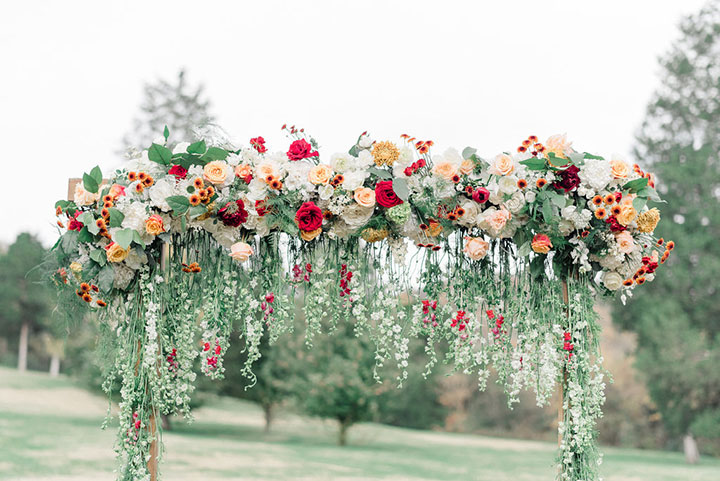 Floral Waterfall Ceremony Arch