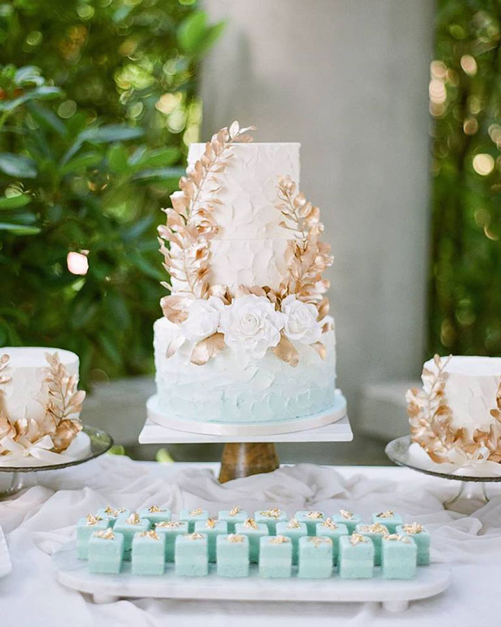 Ethereal Pale Blue Ombré Buttercream Wedding Cake