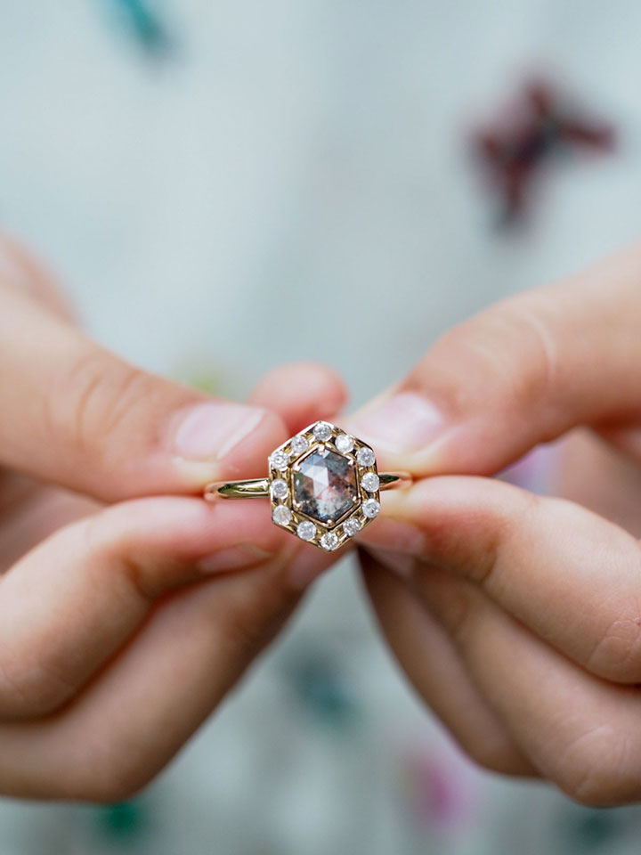 Unique Hexagon Salt & Pepper Diamond Engagement Ring