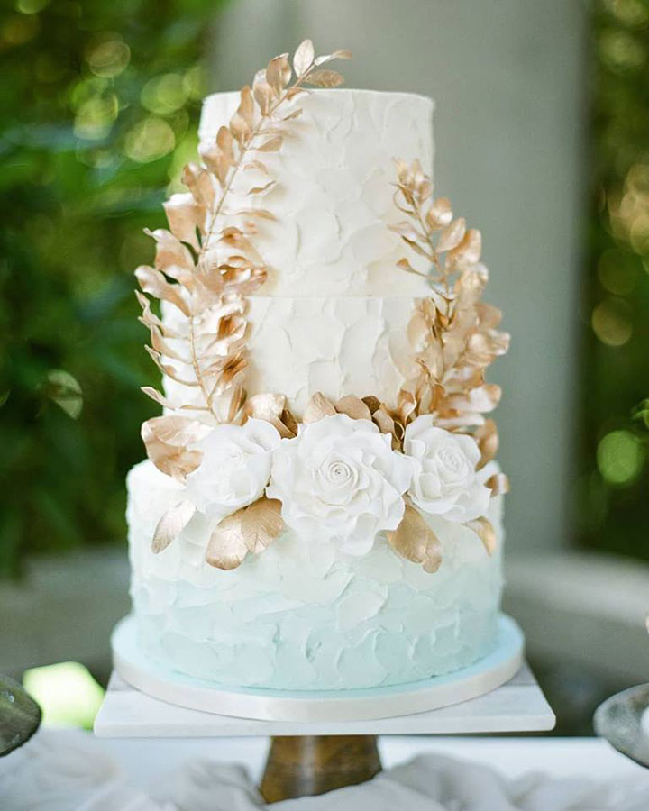 Ethereal Pale Blue Ombre Buttercream Wedding Cake