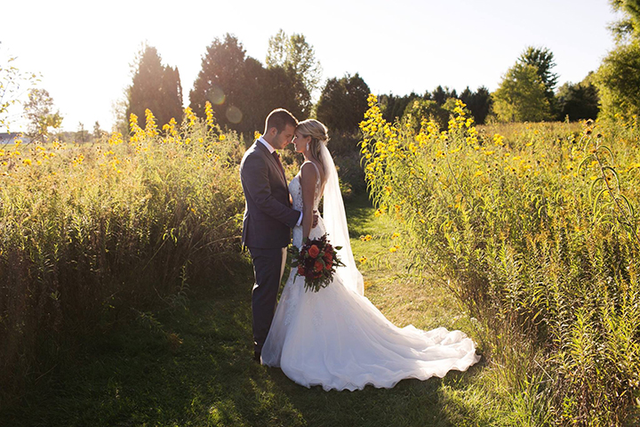 "Bride Wears Sophia Tolli ""Margot"" For Her Early Autumn Wedding In Indiana"
