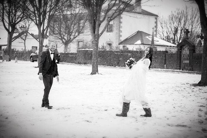 "Irish Bride's Snowy Wedding Wearing Sophia Tolli ""Leigh"""
