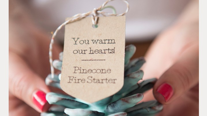 DIY Pinecone Fire Starter Wedding Favors
