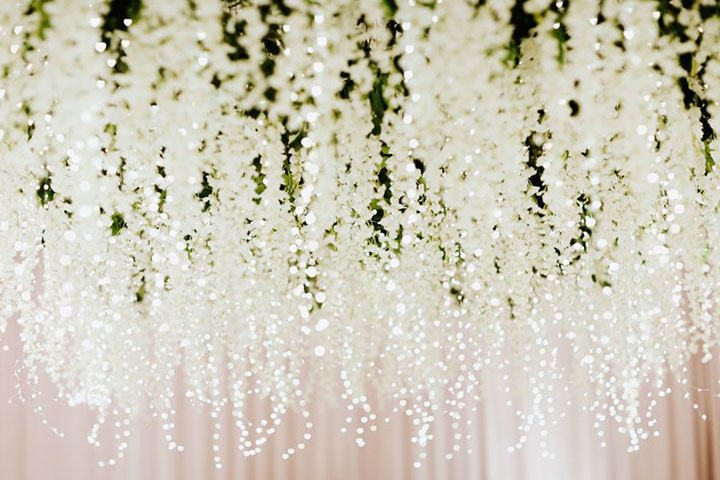 Most Magical Hanging Floral Installation With Fairy Lights