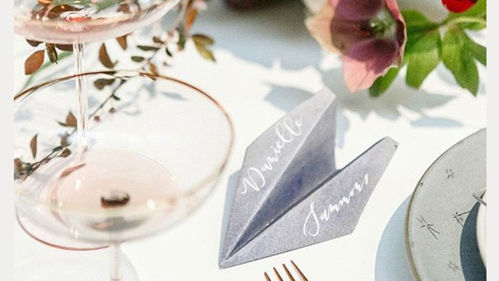 Paper Airplane Inspired Place Cards