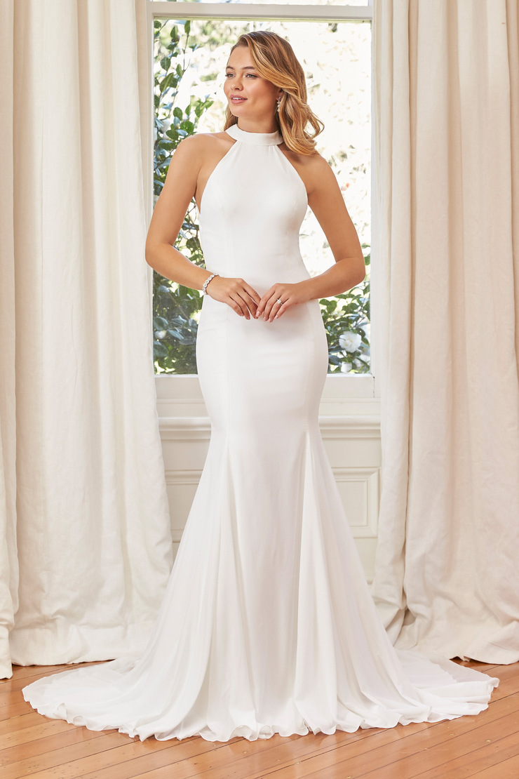 Clean High Neck Wedding Gown with Open Back Tate