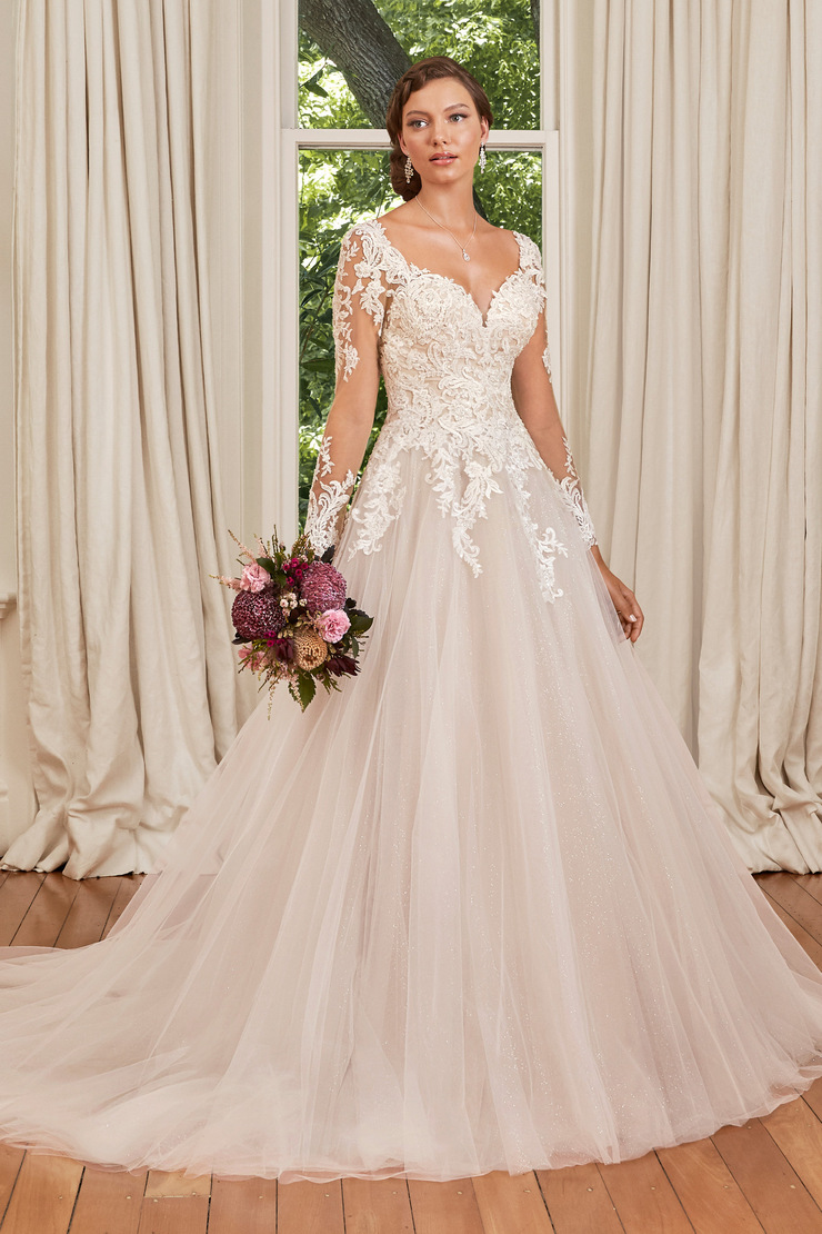 Long Sleeve Lace Glitter Tulle Ballgown Stephanie Grace