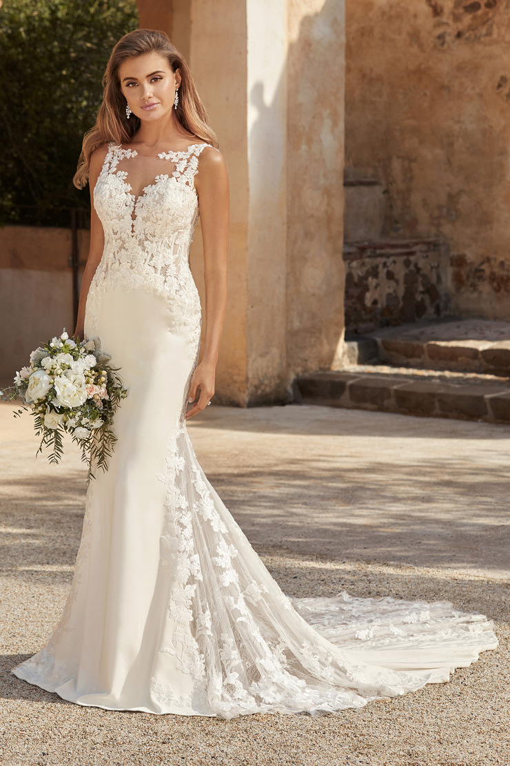 Floral Wedding Dress with Plunging Neckline Laura