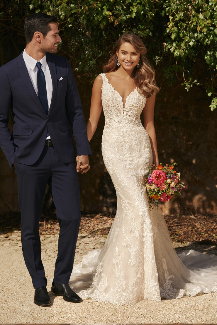 Layered Lace Wedding Dress with Shaped Train Juliette
