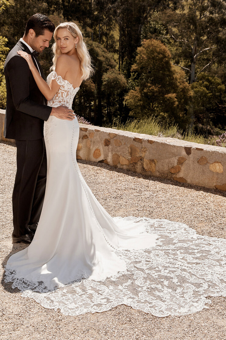 Crepe Wedding Dress with Incredible Lace Train Winona