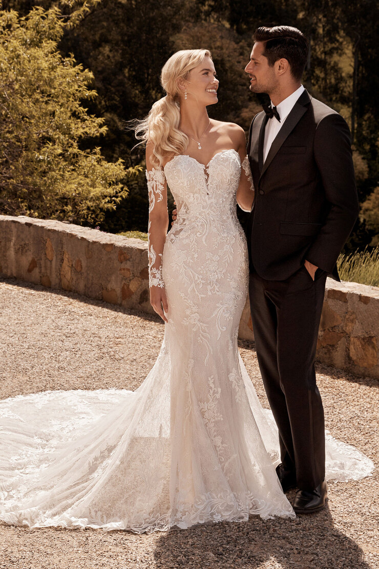Sophisticated Fit and Flare Gown with Sleeves Bronte